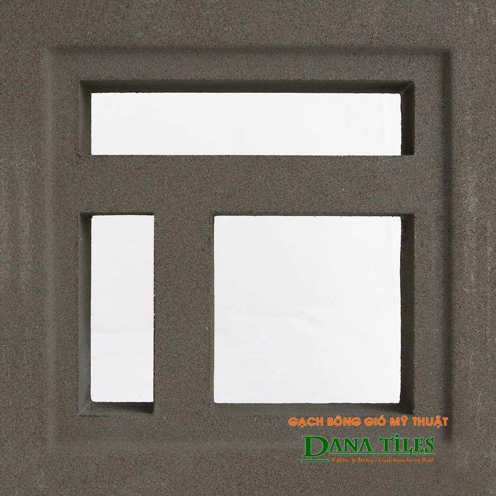 Gạch bông gió xi măng Danatiles D-02 màu đen
