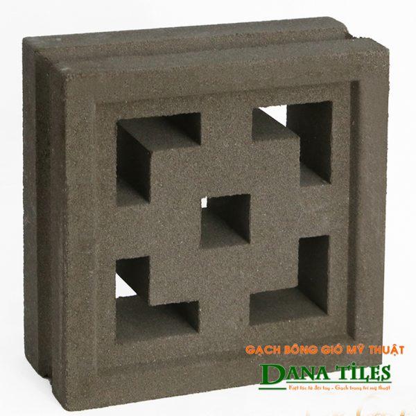 Gạch bông gió xi măng Dana tiles D-08 màu đen